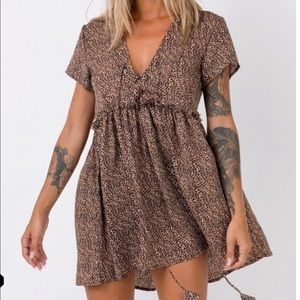 Dresses & Skirts - Leopard baby doll lace front beach mini dress